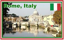 ITALY, ROME, MAP & FLAG - SOUVENIR FRIDGE MAGNET - NEW - GIFT