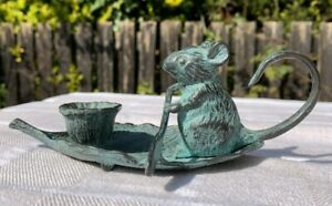 Vintage style Candlestick Holder, Mouse Paddling on a Leaf, Verdigris Mouse