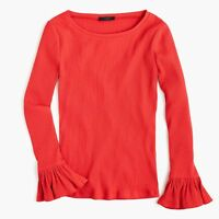 New J Crew Ribbed Bell Sleeve Top Shirt  Red Blouse Womens NWT