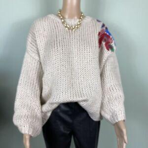 Zara Knit Cream Chunky Oversized Embroidered Shoulder Jumper Size L 12/14