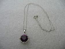 #454# Elegant .925 Sterling Silver Round Amethyst Gem Stone Pendant & Necklace
