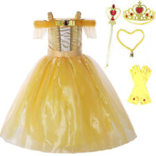 Girl Dress Belle Princess Costume Beauty and the Beast Halloween Cosplay NEW