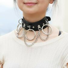 Gothic Women Punk Choker Necklace Pu Collar Chains Maid Cosplay Accessory Zha19
