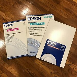 Epson Photo Quality Ink Jet Paper Premium Glossy Large Super A3 B Lot of 3