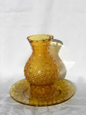 Vintage L.E. Smith Glass Amber Daisy & Button Hurricane Candle Lamp w/Underplate
