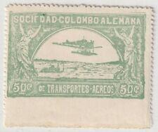 COLOMBIA - SCADTA - SEAPLANE OVER RIVER - 50c STAMP W/ PERF VAR - Sc C16 - 1920