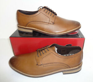 IKON Mens Tan Leather Shoes New Lace Up Formal Wedding Office RRP £70 Sizes 6-12