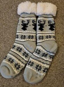 Ladies Grey Christmas Slipper Socks. Size M.