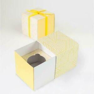 NEW Paper Eskimo Cupcake Gift Box 6pc Hello Yellow Pattern