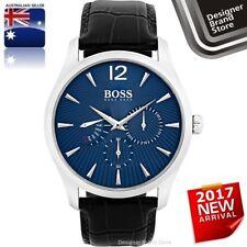 Hugo Boss Mens Commander Watch Silver Blue Dial Black Leather Chrono 1513489