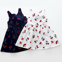 Summer Red Cherry Girls Kids Toddler Baby Princess Party Pageant Wedding Dresses