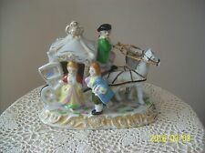Horse Drawn Coach Carriage Handpainted Victorian Courting Couple Figurine