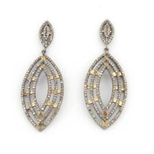 Natural Uncut Teardrop Pave Diamond 925 Solid Sterling Silver Girl's Earrings