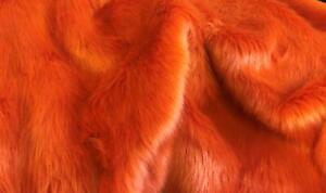 Super Luxury Faux Fur Fabric Material - PLUSH BRIGHT ORANGE