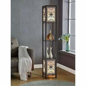 "Tall Boho Floor Lamp w/Etagere Display Shelves, Square Top/Bottom 2-Light, 64"" H"