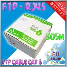 305M CAT6 FTP SHIELDED CABLE REEL/DRUM -COPPER- ETHERNET NETWORK LAN RJ45 UTP