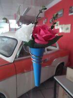 Wartburg / Barkas / Trabant / IFA Oldtimer Autovase Vase blau mit Blumen NEU