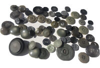Vintage Shades of Gray Green Mixed Plastic Button Lot of 60+