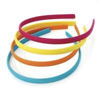 Pk 4 FABRIC HEADBANDS ALICE BANDS BRIGHT NEON PASTEL BLACK RED WHITE NAVY HAIR