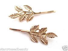 2 Gold Leaf Hair Grips Pins Slides Clips Laurel Olive Grecian Athena Boho g97