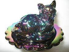 New listing amethyst carnival glass salt cellar / celt cat kitten on nest basket dish purple