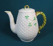 1955-1965 BELLEEK Ireland Cream Basket Weave Shamrock Coffee Pot