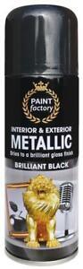 3 x All Purpose Black Metallic Aerosol Spray Paint Household Car Plastic 200ml