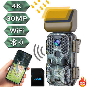 Campark 4K/30MP WiFi Trail Camera Bluetooth Hunting Game Cam +Solar Panels 32GSD