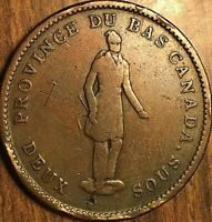1837 LOWER CANADA DEUX SOUS ONE PENNY BANK TOKEN - Quebec bank on ribbon