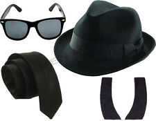 BLUE BROTHERS 1980'S HAT TIE GLASSES SIDEBURNS FANCY DRESS COSTUME SET