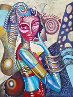 Abstract Women Painting - Artistic Colourful Art Photo Poster / Canvas Pictures