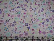 3 Yards Quilt Cotton Fabric - Timeless Treasures Fairy Snowflake Flower Glitter