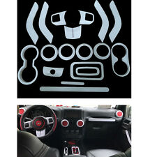 18pcs White Interior Decoration Trim Complete Kit Accessories For Jeep Wrangler