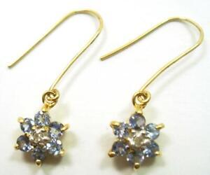 SYJEWELLERY NICE 9CT YELLOW GOLD TANZANITE PLUM BLOSSOM & DIAMOND EARRINGS E855