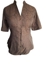TM Lewin Brown Gold Paisley Button Up Shirt Elegant V-Neck Ethnic Blouse Size 10