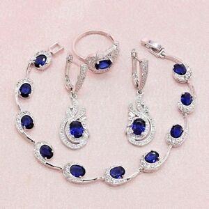 Sapphire Jewelry Sets in Blue For Women 925 Silver Earrings Bracelet & Ring Nec