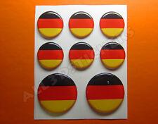 8 x 3D Kfz-Aufkleber Rund Flagge Deutschland Sticker Fahne