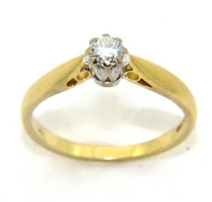 Ladies/womens 18ct gold engagement ring set with a solitaire diamond, UK size O