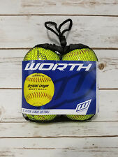 4 Worth Wcs12S 12-Inch Official Softball League Stamped Green 4 Softballs Bag