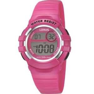 Lorus Digital Chronograph Pink Strap Children / Girls Watch R2387HX9