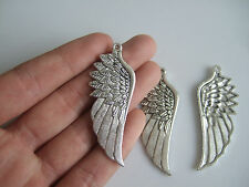 4 x Tibetan Silver Tone Large Angel Wing Charms Pendants Jewellery Making 56mm