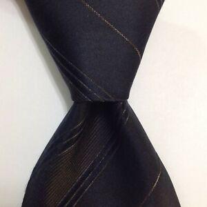 ROBERTO CAVALLI Men's Silk/Metal Necktie ITALY Designer STRIPED Blue/Brown EUC