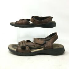 Clarks Outdoor Sandals Shoes Hook And Loop Open Toe Leather Brown Womens 11 N