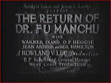 THE RETURN OF DR. FU MANCHU 1930 Mystery Thriller w/Warner Oland, Jean Arthur