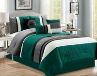 7Pc (Double) Full Teal Blue Gray Black White Scroll Embroidered Comforter Set