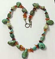 "Vintage Artisan 24"" Sterling Silver Turquoise Jasper Carnelian Agate Necklace"
