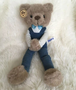 "Vintage Russ Berrie Benny Plush Bear 14"" Long Brown Blue Corduroy Overalls"