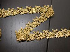 "Venise Lace 1"" (25.4mm) Metallic Gold Rose Pattern 5 Yards"