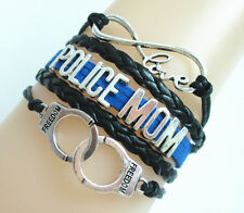 New Infinity Love POLICE MOM Handcuffs Charms Leather European Bracelet