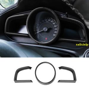 For 2014-2018 Mazda 3 Carbon Fiber Look Dashboard Interior Instrument Frame Trim